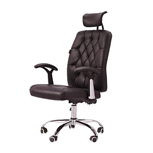 Reclining Chair Computer Chair Home Office Chair Multi-Function Leather Swivel Chair Staff Swivel Chair (Color : Black)
