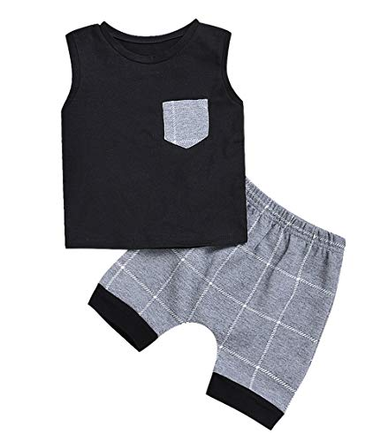 Infant Baby Boys Summer Casual Clothes Set Plaid Pocket Vest Tops +Shorts...