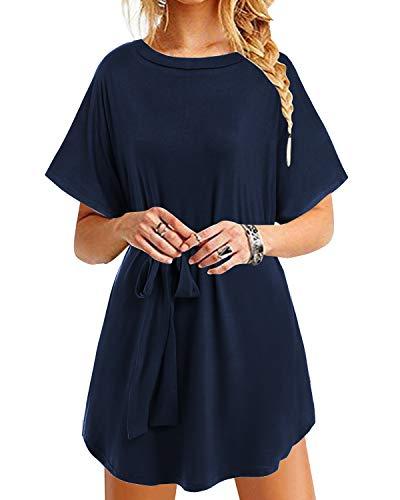 YOINS Sommerkleid Damen Tunika Tshirt Kleid Bluse Kurzarm MiniKleid Maxikleid Rundhals Bindegürtel-Dunkelblau XXL