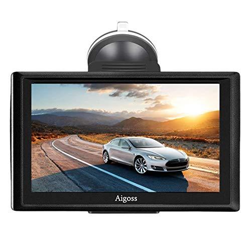 2020 Navigation für Auto, Aigoss 7 Zoll Touchscreen 8GB LKW PKW KFZ GPS Navi Navigationsgerät mit Bluetooth POI Sprachführung Fahrspurassistent Lebenszeit Kostenlose Kartenupdates