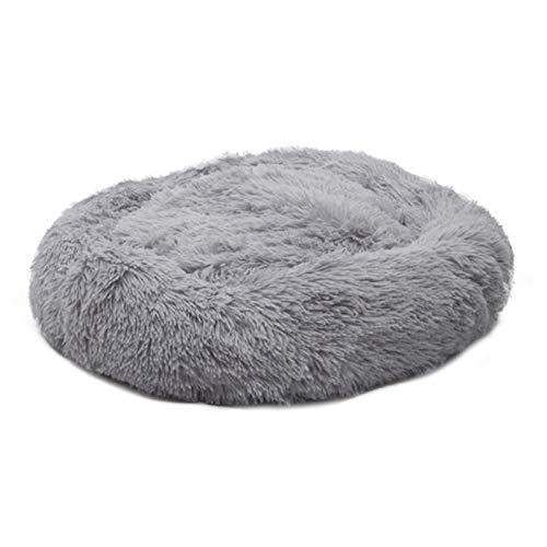 QAVILFLY Sofá para mascotas para perros, cama de mascotas, almohadilla para cama de perro, para mascotas pequeñas y medianas, cama calmante, suave y cálida, color gris claro