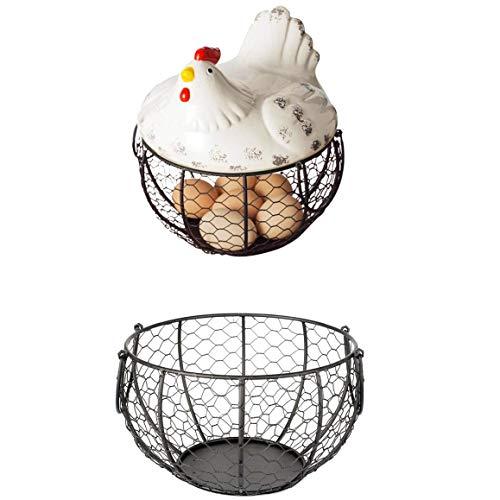 TRUUA Titolare 1PC Uova di Pollo Ferro Egg Basket archiviazione Snack Cucina Decorazione Collezione di Accessori in Ceramica Gallina Ornamenti Fruit Basket