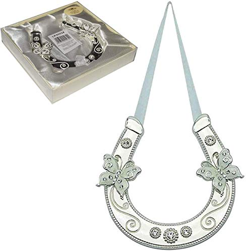 Wedding Silver Plated Double Butterfly Horseshoe with Diamantes - Gift Boxed