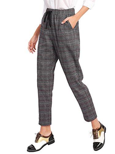 SweatyRocks Women's Vintage Plaid Casual Pocket Pants with Drawstring Elastic Waist Grey S