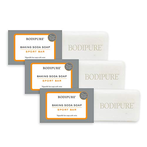 Baking Soda Soap 4.4 oz EA - Vegetable Bar Soap with Mint - Gentle Natural, Brightening, Deodorizing Cleanser, Face & Body Soap by BODIPURE - 3pk Sport Mint Italy Made