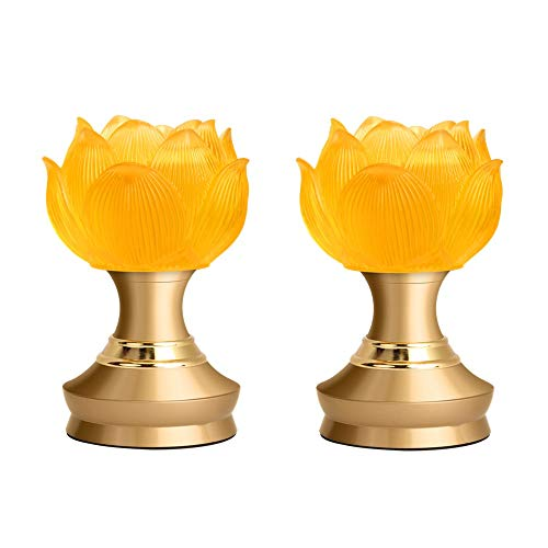 LACGO LED Lotus Buddhist Light, Warm Yellow Buddha Lotus Lamp, 2 in 1 USB or Battery-Operated Buddhist Worship Prayer Faith Supply Things, Modern Simple Style Lotus Lamp(3.15''D/5''H, 2 Pack)