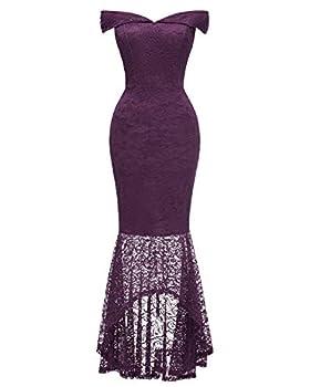 Women s Vintage Off Shoulder Floral Lace Evening Cocktail Maxi Dress Mermaid Purple