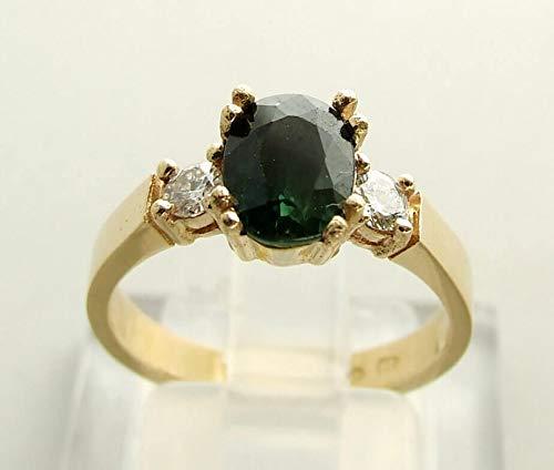 Christian gouden ring met groene saffier