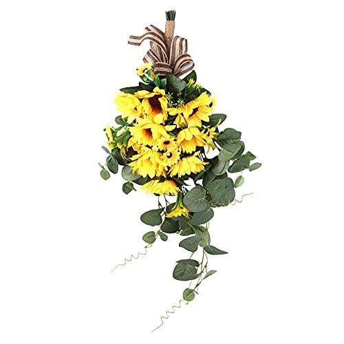 Pumpumly Ramo de flores artificiales de girasol para colgar en el patio, 48 x 21 cm
