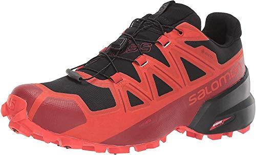 Salomon Unisex Spikecross 5 GTX Trail Running Shoes, Black/Racing Red/Red Dahlia, 11.5