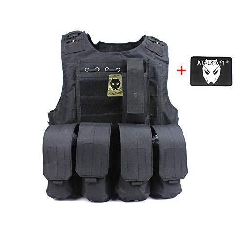 ATAIRSOFT Caza táctica Chaleco Militar Estilo Molle Chaleco Portador Estilo FSBE con 7 Bolsas modulares Personalizables BK