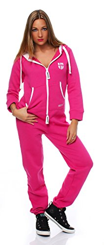 Hoppe Gennadi Damen Jumpsuit Onesie Jogger Einteiler Overall Jogging Anzug Trainingsanzug - Slim FIT,pink,L