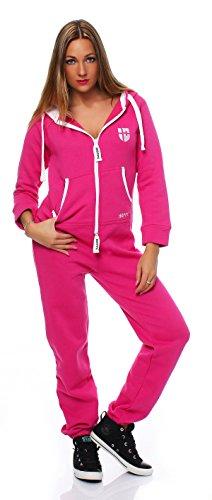 Hoppe Gennadi Damen Jumpsuit Onesie Jogger Einteiler Overall Jogging Anzug Trainingsanzug - Slim FIT,pink,S