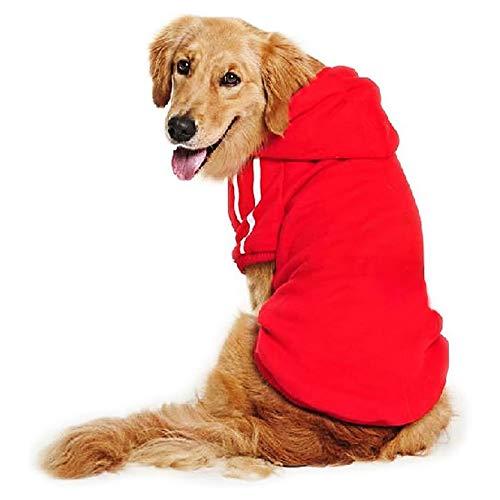 DULEE Ropa Perro Grande,Cálido Sudadera con Capucha para Perros Algodón Suéter Chaqueta Abrigo Costume Pullover para Mascota Perro Gato Rot 7XL
