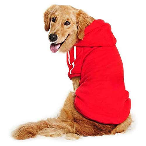 DULEE Hund Warme Hoodies Mantel Jumpsuit Haustier Kleidung Jacke Pullover Baumwolle Pullover Outwear Rot 8XL