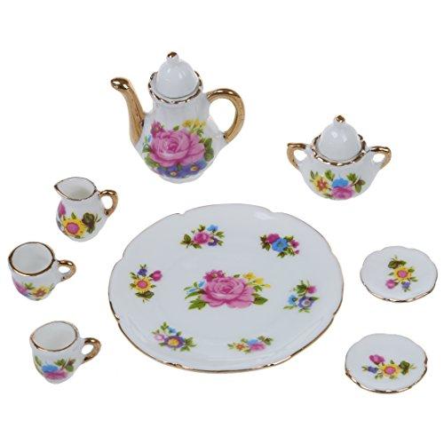 Breezeu 8 PC de casa de munecas en Miniatura de te de Porcelana vajilla Juego de Comedor Plato Taza Rosa Rosa