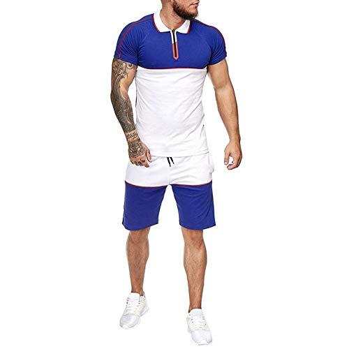 Conjunto de Chándal Corto Hombre,Verano Camiseta Manga y Pantalon Transpirable y de Secado rápido Ideal para Gym Correr Trotar Caminar (Azul, L3)