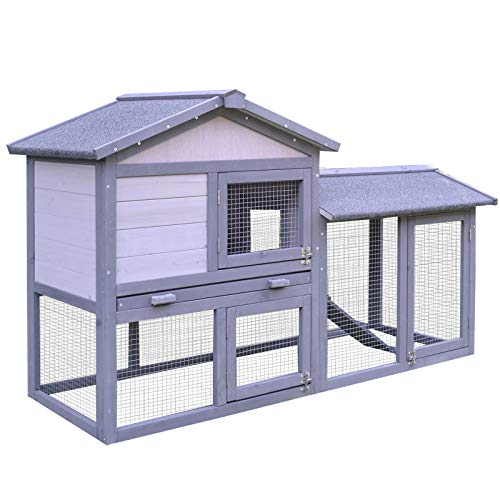PawHut Large Outdoor Raised Painted Deluxe Wood Rabbit Hutch Bunny Outdoor Animal Cage Enclosure with Run