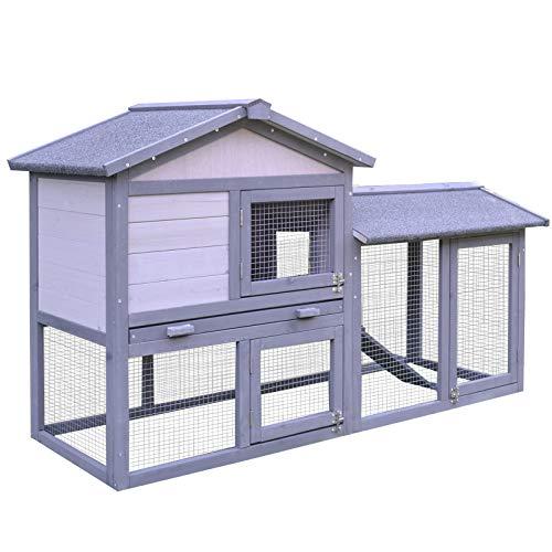 Pawhut Conejera Exterior Conejo Cobaya Bandeja Extraíble Casa para Animal Pequeño Jaula...