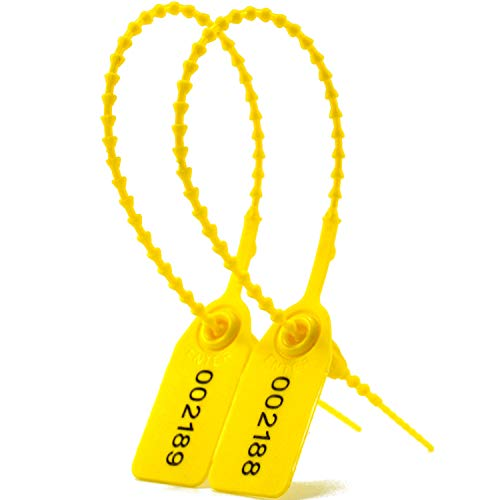 Leadseals(R) 100 PlasticTamper Seals, Zip Ties for Fire Extinguishers Pull Tite Security Tags Numbered Disposable Self-Locking Tie 250mm Length (Yellow)