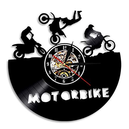 llvvv Reloj de Pared para Motocicleta, súper Bicicleta, Carrera Deportiva, Velocidad, Motociclistas, Regalo, Vinilo, Reloj de Pared, Bicicleta de Tierra, decoración del hogar, Regalo para Ciclistas
