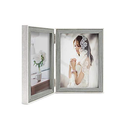 Afuly - Marco de fotos doble gris con borde blanco, Madera de diseño, Gris y blanco exterior., 7