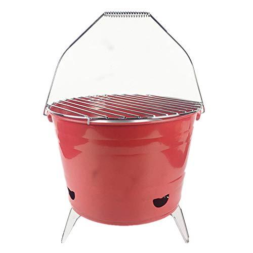 ZFLLF olding barbecue Houtskool verwarming oven huishoudelijke rookloze rook uitgehard pot vuur outdoor barbecue grill BBQ oven kantoor verwarming charbroiler Rood