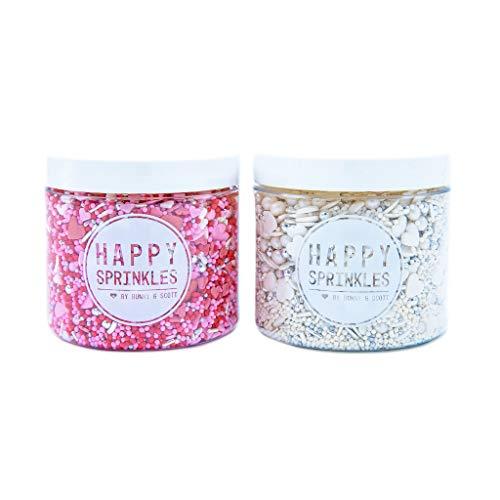 2er Streusel Set In Love | Happy Sprinkles | Zuckerstreusel Mix bunt | Zum Backen & Verzieren von Torten, Kuchen, Plätzchen, Muffin & Eis | mit Herzen & Zuckerperlen | Zuckerdekor weiß rot silber