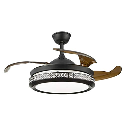 Ventilador De Techo Moderno De 42 Pulgadas Con Luz LED Y Control Remoto, Luz De Ventilador De Araña De Araña Negra Con Aspas Retráctiles