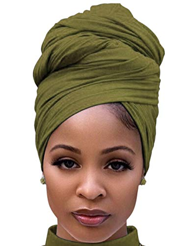 Hair Wrap for Black Women with Natural Hair Large Stretch Soft Edge Scarves for Braids Dreadlocks Army Green