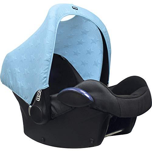 Original Dooky Hoody Sonnenschutz Sonnenverdeck für Babyschalen oder Kinderwagen (Design: Knitted Star Soft Blue, inkl. UV-Schutz 40+, Altersgruppe 0+, Universal geeignet für die meisten Marken)