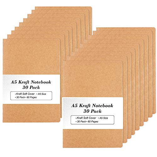 30 Pack Kraft Notebooks, A5 Feela 60 Lined Pages Notebooks and Journals for Women Girls Students Making Plans Writing Memos Office School Supplies, 8.3 X 5.5 in