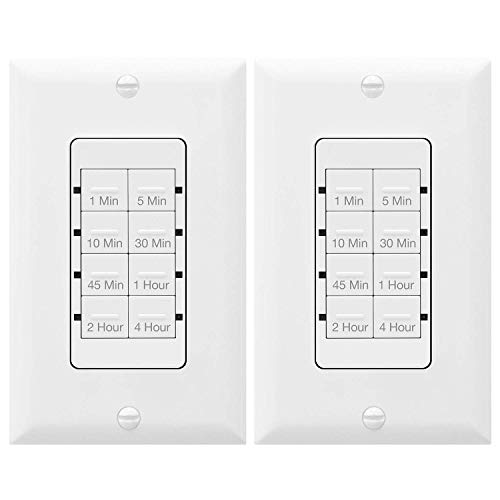 TOPGREENER 4 Hour Countdown Switch Timer | in-Wall, Electrical Switch for Fans Lights Ventilation heaters, Neutral Required, 600W LED, 1/2HP, UL Listed, TGT08 - White, 2 Pack