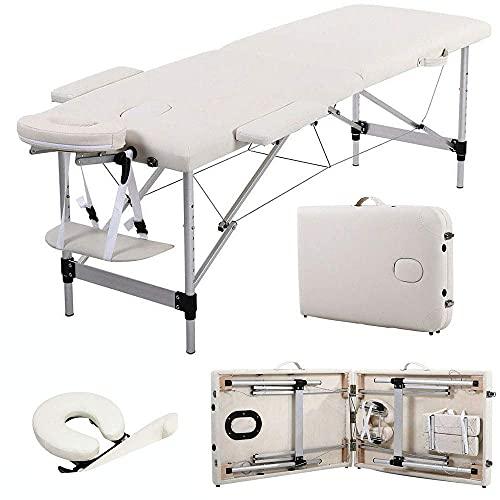 ZCZZ Mesa de Cama de Masaje de Aluminio portátil de 2 Pliegues de Cuero sintético Suave y Resistente al Aceite/Sucio/al Agua, Altura Ajustable, con Orificio para la Cara y una Bolsa de transp