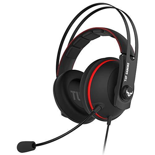 Asus TUF Gaming H7 Core - Auriculares, Compatible con PC-PS4 -Mac-Xbox One-Nintendo Switch y Smartphones, Diadema de Acero Inoxidable, 2 micrófonos, Rojo