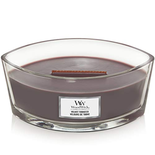 WoodWick Ellipse Scented Candle with Crackling Wick | Velvet Tobacco | Up to 50 Hours Burn Time