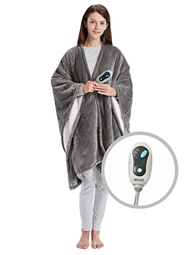 Beautyrest Ultra Soft Sherpa Berber Fleece Electric Poncho Wrap Blanket Heated Throw with Auto Shutoff - 5 Year Warranty, 50' W x 64' L, Grey