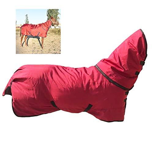 JUEJIDP 600 D Horse Turnout Manta de Invierno de Peso Pesado Impermeable, Manta de Invierno cómoda Impermeable a Prueba de Viento y Transpirable, Manta de Envoltura de Vientre de Caballo,Rojo,