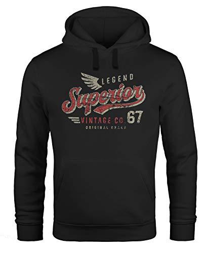Neverless® Sudadera con capucha para hombre, diseño retro con texto «Superior Legend Legend Alas» Superior Vintage negro. XXXL