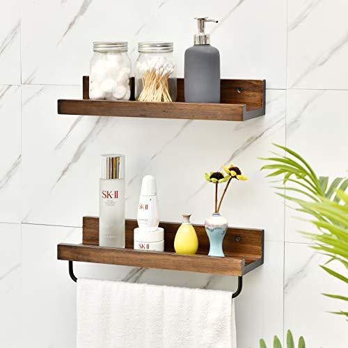 Welland Dayton - Estantería flotante de madera rústica con ganchos para cocina, baño