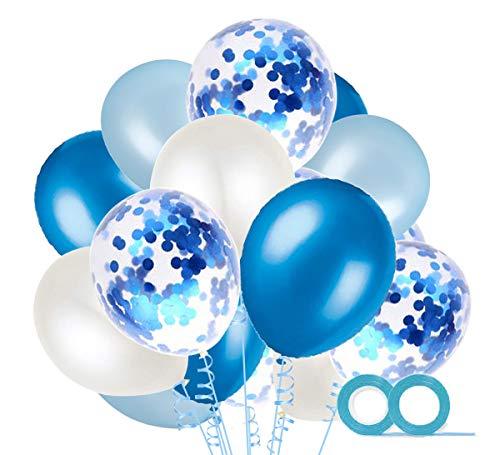 MAKFORT 60 Stück Blau und Weiß Luftballons mit Konfetti Ballons Blau und 2XLuftschlangen Helium Ballons für Hochzeit Geburstagsdeko Babyparty Junge Dekoration