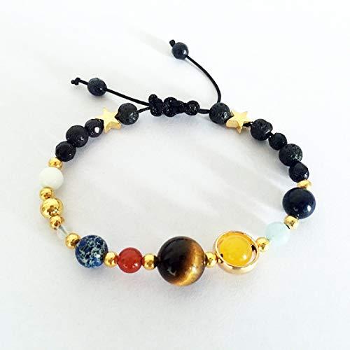 YUANOMSL Pulsera con sistema solar para mujer, arte creativo de moda, galaxia, los ocho planetas, estrella de la guarda y piedra natural, regalo para niñas