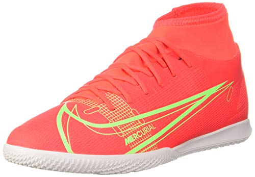 Nike Superfly 8 Club IC, Football Shoe Hombre, Bright Crimson/Metallic Silver-Indigo Burst-White-Rage Green, 45.5 EU