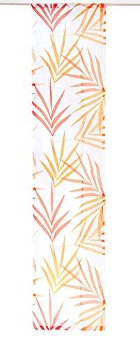 Gardinenbox.eu Schiebegardine, Flächenvorhang, mit Klettband, Farbe Orange, Design Bambus blätter, Transparent HxB 245x57 cm