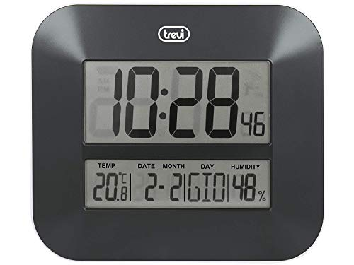 Trevi OM 3520 D Orologio Digitale con Grande Display LCD da Muro, Termometro, Calendario Multilingue, Nero