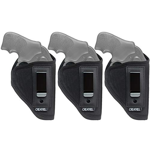 CREATRILL 3 Pack IWB Gun Holster for Concealed Carry,Fits J Frame Revolvers Including Ruger LCR, S&W 442 and 642, Taurus, Charter Arms, Rock Island Armory M206, Most .38 Special Revolvers