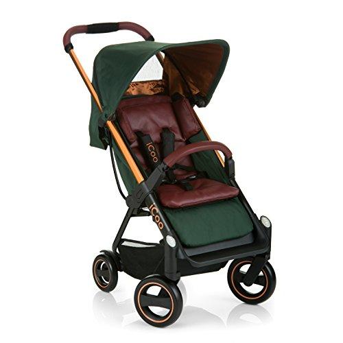Silla de paseo compacta iCOO Acrobat hasta 18 kg con función de tumbado desde el nacimiento, plegable con una mano, ligero - chassis de aluminio, manillar regulable en altura, reflectores - verde