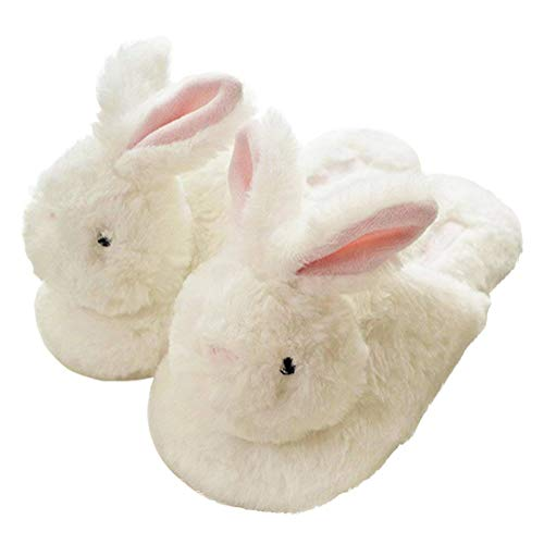 Minetom Damen Hausschuhe Winter Baumwolle Pantoffeln Plüsch Wärme Weiche Cute Tiere Hausschuhe Kuschelige Home rutschfeste Slippers 12 Happy Bunny 38-39 EU