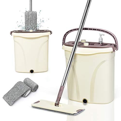 DREAMADE Wischmopp mit Eimer 2 in 1, Wischmopp Set mit Auswringfunktion, Flach-Mopp mit 2 Wischtüchern, Schmutzwasser von sauberem Wasser trennen, 360° ideal für Fliesen Holz Laminat Marmor und Glas
