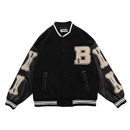 GYYlucky Giacca Varsity Uomo Giacca da Baseball Cappotto Unisex Lettera Jacket Felpa Motociclista Giubbotto Giacca da Coppia (Color : Black, Size : L)